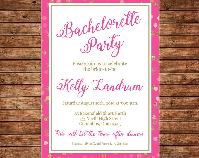 Invitation Pink Gold Glitter Wedding Bridal Bachelorette Shower Party - Can personalize colors /wording - Printable File or Printed Cards