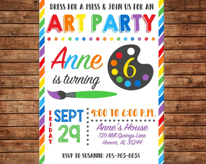 Boy or Girl Invitation Art Artist Pottery Paint Birthday Party - Can personalize colors /wording - Printable File or Printed Cards