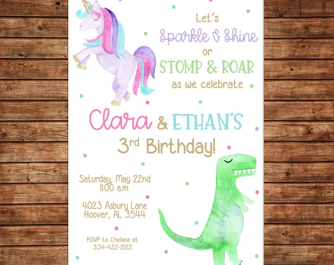 Boy Girl Invitation Watercolor Dinosaur Dino Unicorn Birthday Party - Can personalize colors /wording - Printable File or Printed Cards