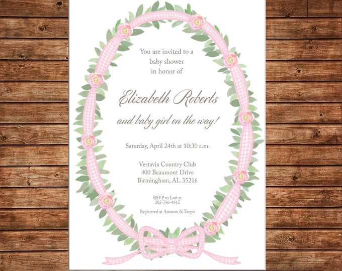 Boy or Girl Invitation Watercolor Wreath Gingham Ribbon Baby Shower - Can personalize colors /wording - Printable File or Printed Cards