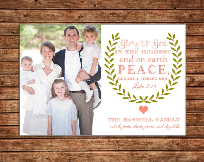 Photo Picture Christmas Holiday Card Luke 2:14 Wreath Elegant Typography - Digital File