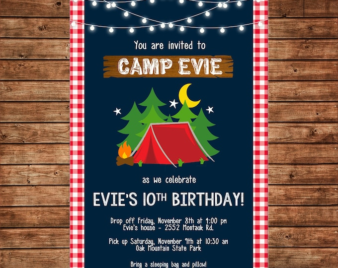 Boy or Girl Invitation Glamping Tent Camping Camp Birthday Party - Can personalize colors /wording - Printable File or Printed Cards