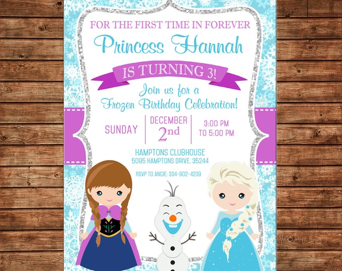 Girl Invitation Snowflake Snow Ice Princess Birthday Party - Can personalize colors /wording - Printable File or Printed Cards
