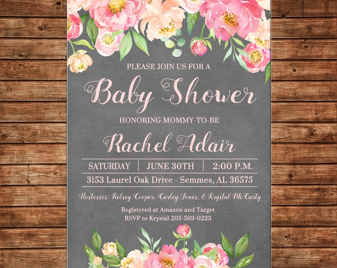 Girl Invitation Watercolor Flowers Chalkboard Baby Shower Birthday Party - Can personalize colors /wording - Printable File or Printed Cards