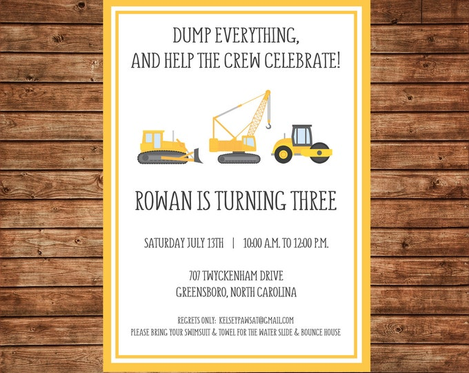 Boy Dump Truck Construction Birthday Party - Can personalize colors /wording - Printable File or Printed Cards