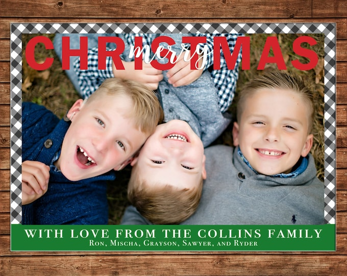 Christmas Holiday Photo Card Gingham Check - Can Personalize - Printable File or Printed Cards