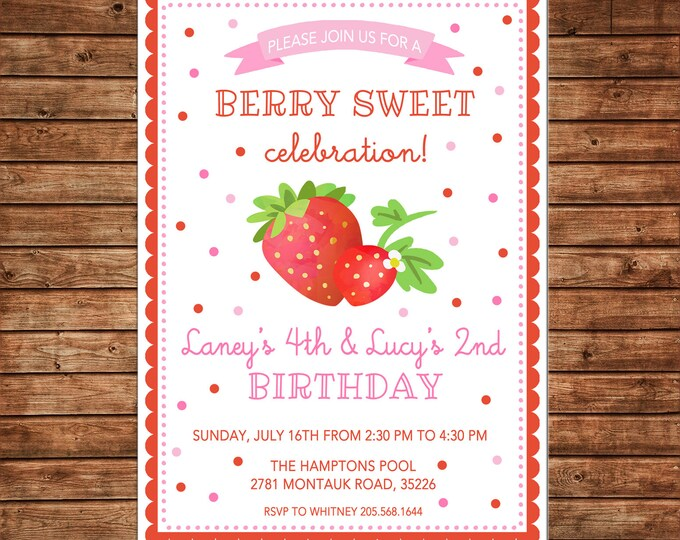 Girl Invitation Berries Strawberry Watercolor Birthday Party - Can personalize colors /wording - Printable File or Printed Cards