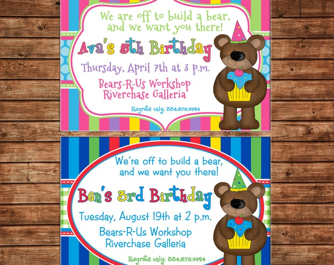 Boy or Girl Invitation Bear Teddy Birthday Party - Can personalize colors /wording - Printable File or Printed Cards