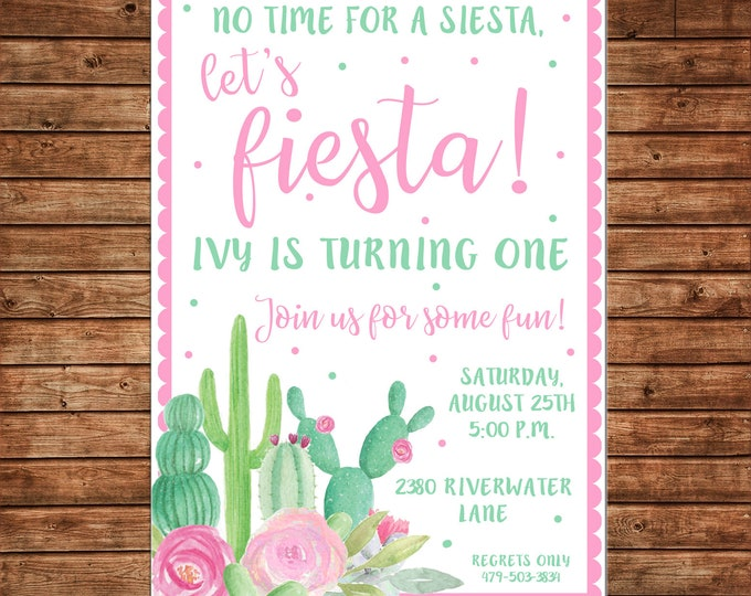 Girl Invitation Watercolor Cactus Fiesta Shower Birthday  - Can personalize colors /wording - Printable File or Printed Cards