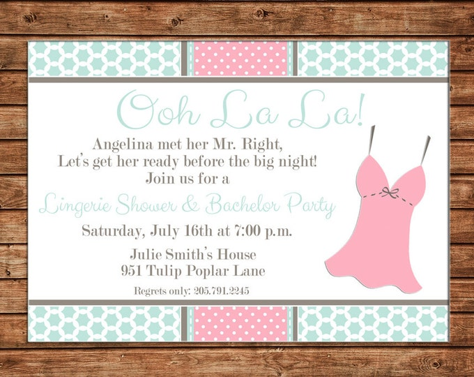Invitation Lingerie Bridal Shower Bachelorette Party - Can personalize colors /wording - Printable File or Printed Cards