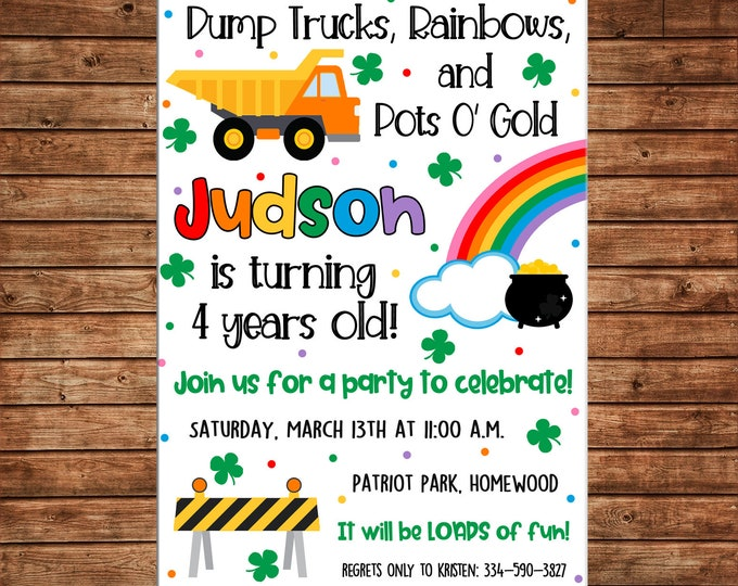 Boy Dump Truck Construction St Patricks Leprechaun Rainbow Birthday - Can personalize colors /wording - Printable File or Printed Cards