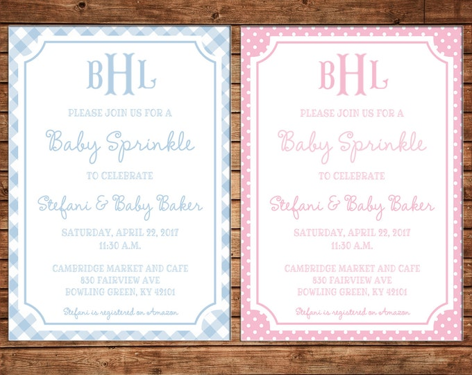 Boy or Girl Invitation Gingham Check Monogram Baby Shower Birthday Party - Can personalize colors /wording - Printable File or Printed Cards