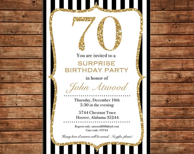 Invitation Black Gold Glitter Milestone Wedding Shower Birthday Party - Can personalize colors /wording - Printable File or Printed Cards