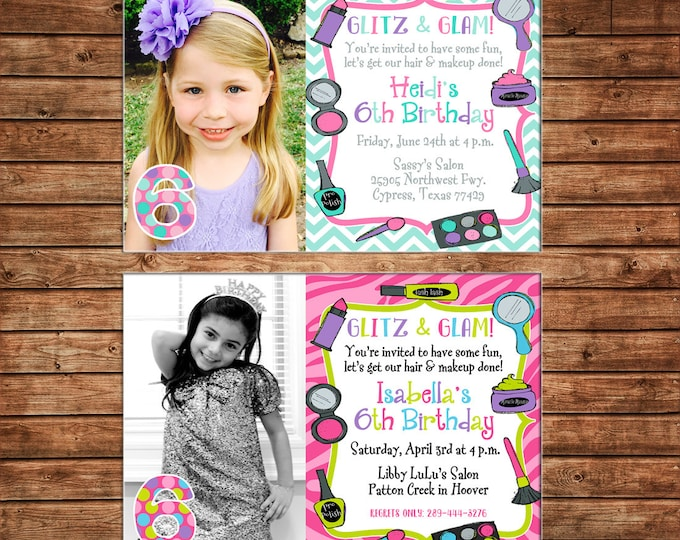Girl Photo Invitation Makeup Makeover Dress Up Fashion Birthday Party - Can personalize colors /wording - Printable File or Printed Cards