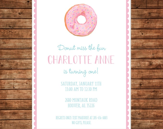 Girl Baby Sprinkle Donut Donuts Shower Birthday Party - Can personalize colors /wording - Printable File or Printed Cards