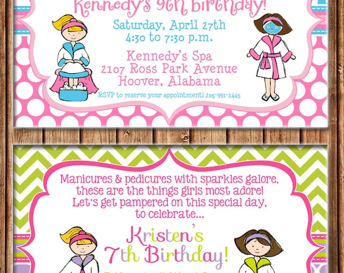 Girl Invitation Manicures Pedicures Mani Pedi Spa Birthday Party - Can personalize colors /wording - Printable File or Printed Cards