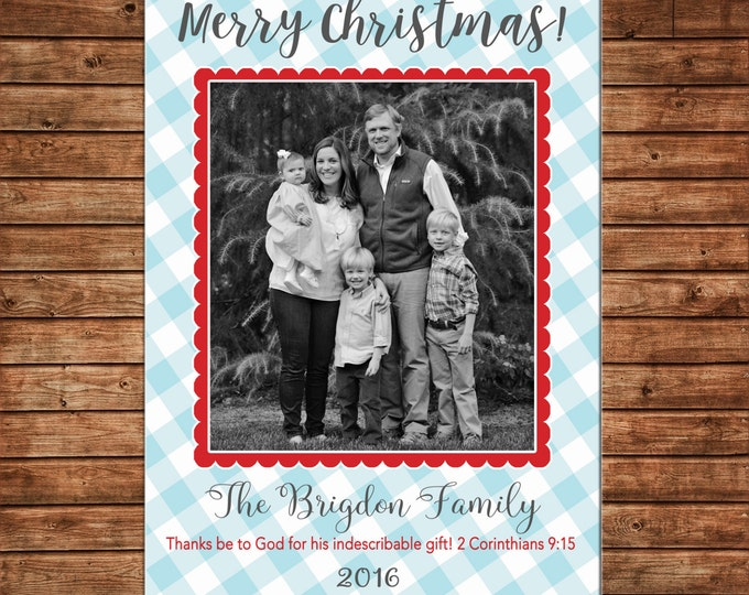 Christmas Holiday Photo Card Blue Gingham Check Scallop - Can Personalize - Printable File