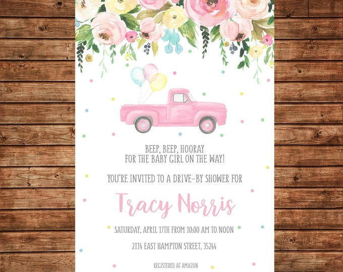 Girl Invitation Watercolor Flowers Baby Bridal Wedding Shower Drive By - Can personalize colors /wording - Printable File or Printed Cards