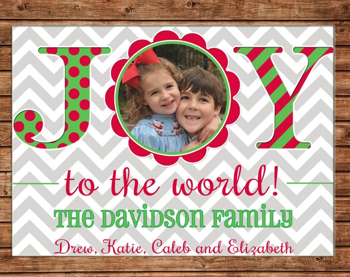 Christmas Holiday Photo Card Whimsical Chevron Stripe Polka Dot - Can Personalize - Printable File or Printed Cards