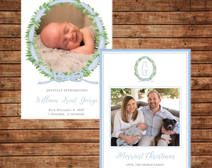 Christmas Holiday Baby Announcement Photo Card Watercolor Wreath - Can Personalize - Printable File