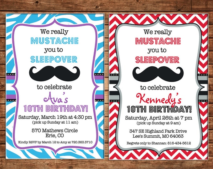 Girl Invitation Mustache Sleepover Chevron Tween Birthday Party - Can personalize colors /wording - Printable File or Printed Cards