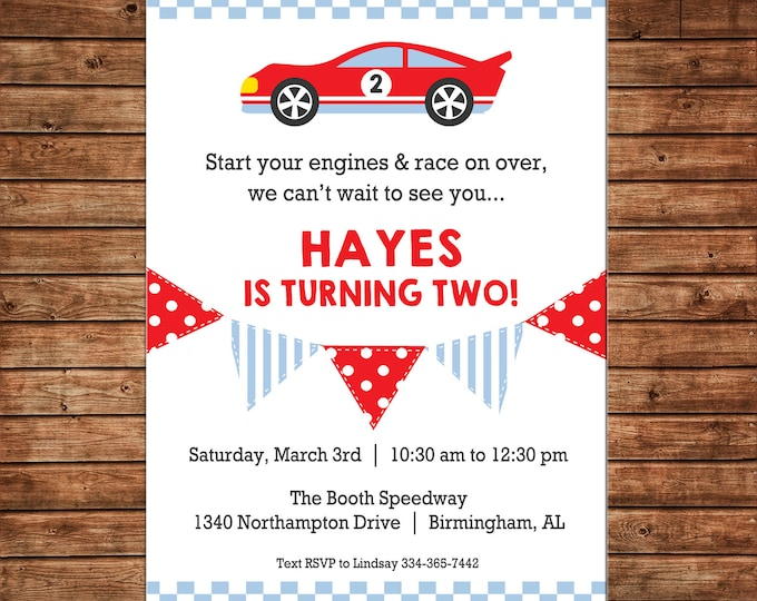 Boy Invitation Race Matchbox Car Bunting Birthday Party - Can personalize colors /wording - Printable File or Printed Cards