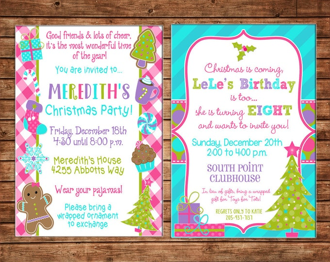 Girl Christmas Invitation Birthday Party - Can personalize colors /wording - Printable File or Printed Cards