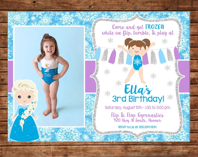 Girl Photo Gymnastics Invitation Snowflake Ice Princess Birthday Party - Can personalize colors /wording - Printable File or Printed Cards