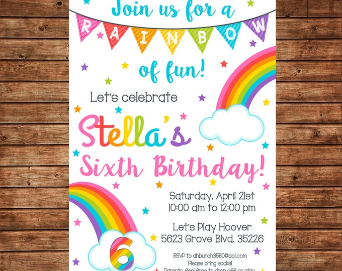 Girl Invitation Rainbow Colorful Clouds Stars Birthday Party - Can personalize colors /wording - Printable File or Printed Cards