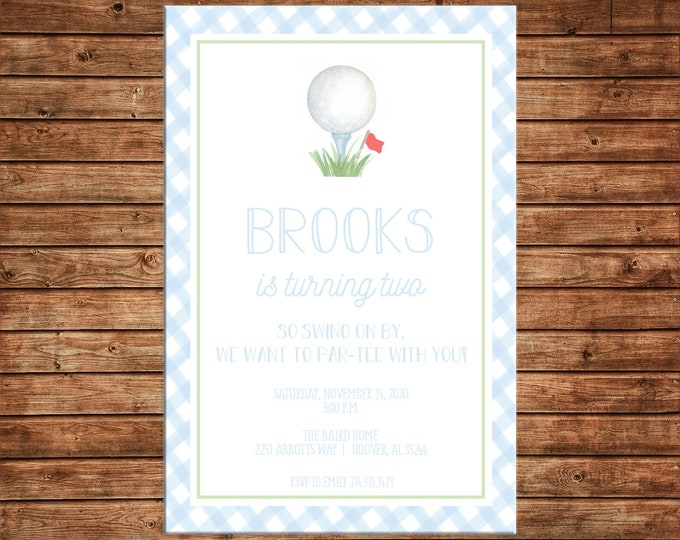 Boy Invitation Watercolor Golf Ball Gingham Preppy Birthday Party - Can personalize colors /wording - Printable File or Printed Cards