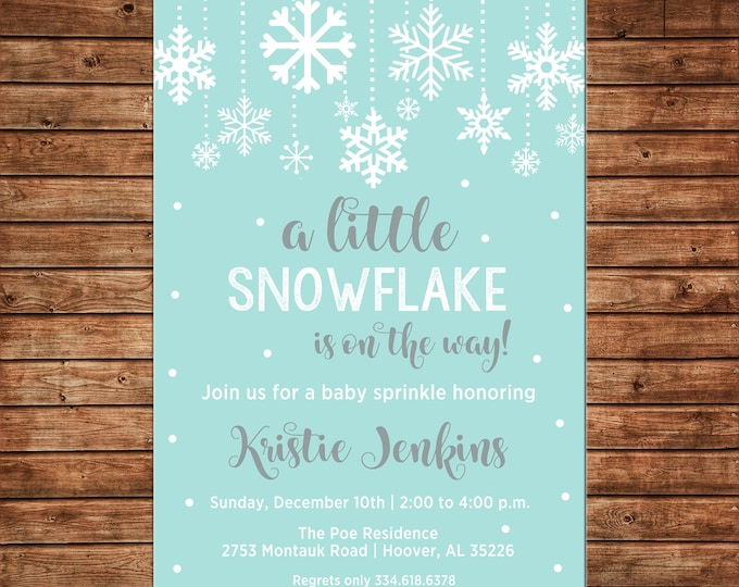 Boy or Girl Baby Shower Little Snowflake Party Invitation - Can personalize colors /wording - Printable File or Printed Cards