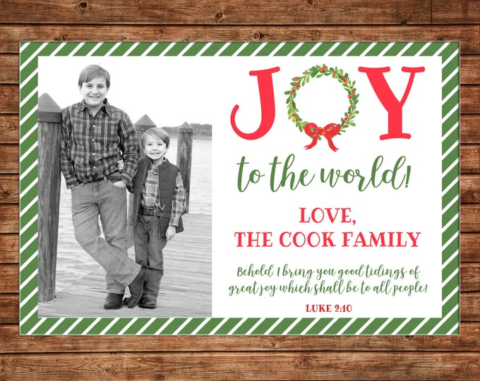 Christmas Holiday Photo Card Joy to the World Watercolor Wreath - Can Personalize - Printable File