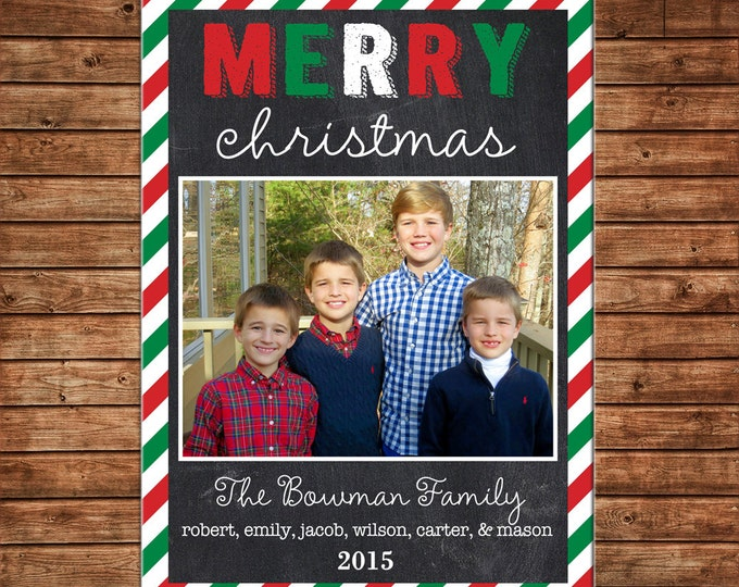 Christmas Holiday Photo Card Red Green Stripe Chalkboard - Can Personalize - Printable File or Printed Cards