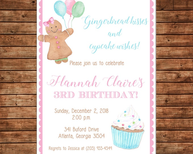 Watercolor Gingerbread Cookie Christmas Cupcake Birthday Invitation  - Can personalize colors /wording - Printable File or Printed Cards