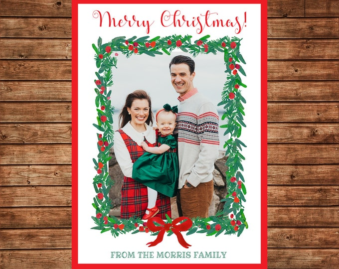 Christmas Holiday Photo Card Watercolor Wreath Greenery - Can Personalize - Printable File