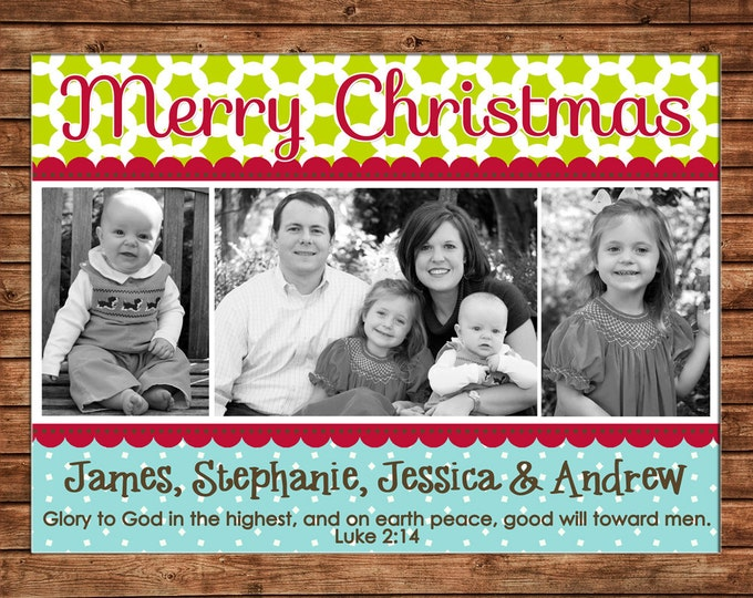 Christmas Holiday Photo Card Whimsical Clover Polka Dot - Can Personalize - Printable File or Printed Cards