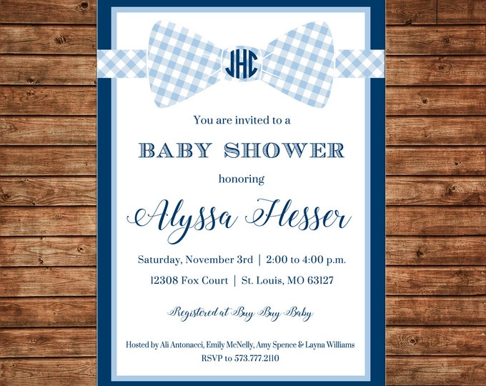 Boy Invitation Monogram Bowtie Baby Shower Birthday Party - Can personalize colors /wording - Printable File or Printed Cards