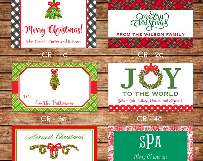 20 Rectangle Personalized Christmas Red Green Enclosure Cards, Gift Stickers, Gift Tags
