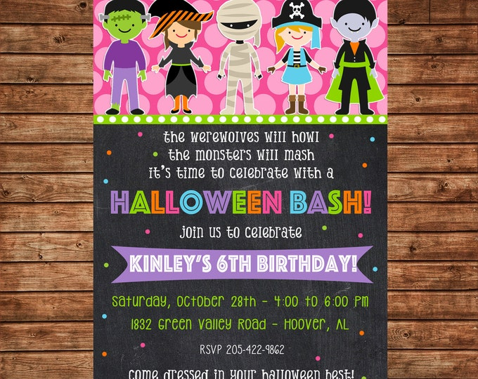 Girl Invitation Halloween Costume Trick or Treat Birthday Party - Can personalize colors /wording - Printable File or Printed Cards