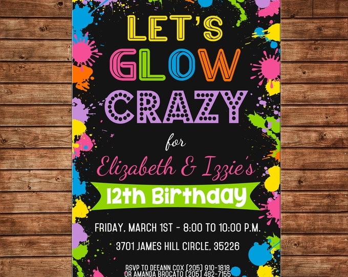 Boy or Girl Invitation Neon Glow Tween Birthday Party - Can personalize colors /wording - Printable File or Printed Cards