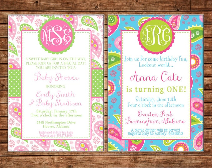 Girl Invitation Paisley Monogram Baby Shower Birthday Party - Can personalize colors /wording - Printable File or Printed Cards