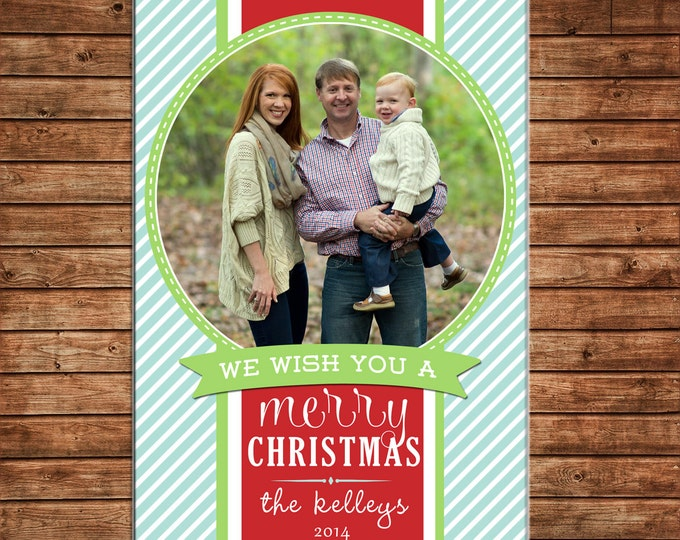 Christmas Holiday Photo Card Whimsical Mint Red Green - Can Personalize - Printable File or Printed Cards