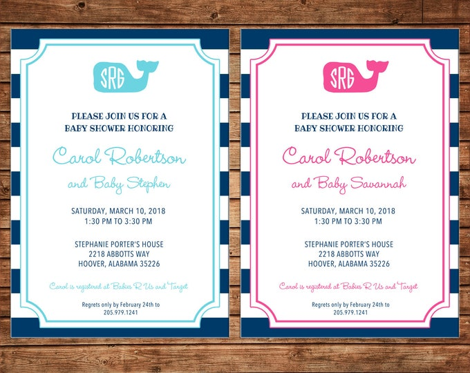 Boy or Girl Preppy Whale Monogram Stripe Baby Shower Birthday Party - Can personalize colors /wording - Printable File or Printed Cards