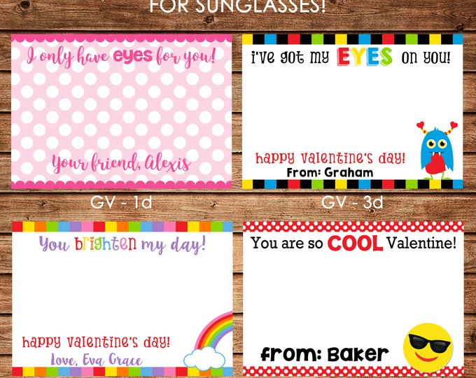 12 Printed Boy and Girl Valentine Cards, Valentine Stickers, Sunglasses, Glasses