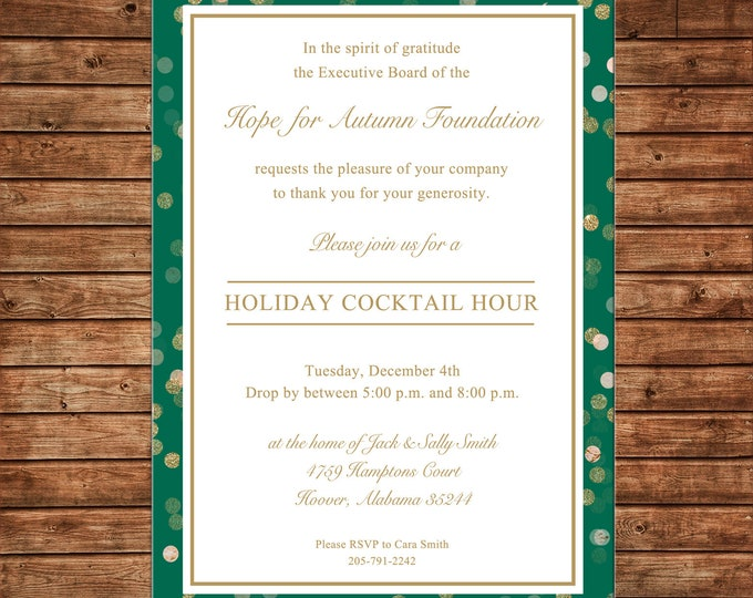 Christmas Gold Glitter Holiday Cocktail Company Party Invitation - Can personalize colors /wording - Printable File or Printed Cards