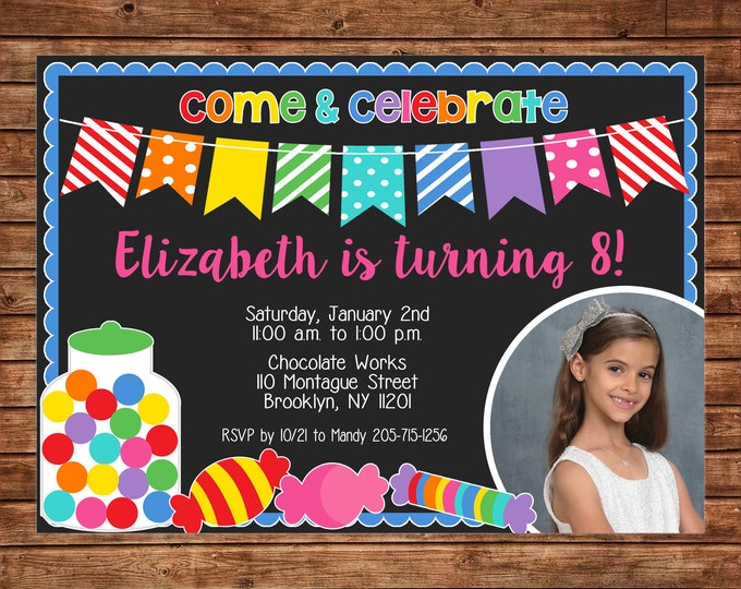 Girl Photo Invitation Candy Sweet Shop Birthday Party - Can personalize colors /wording - Printable File or Printed Cards
