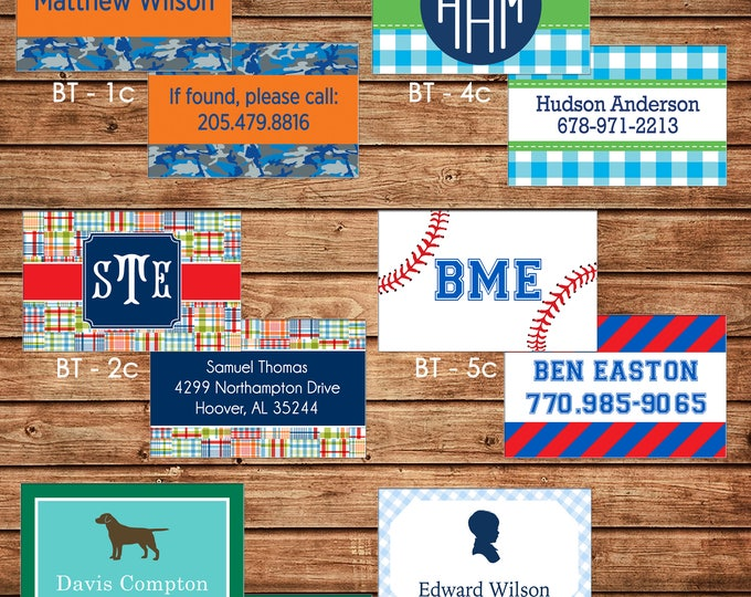 Boy Personalized Luggage Bag Tag with Name, Monogram, Clipart, etc - Design your own - ONE DESIGN