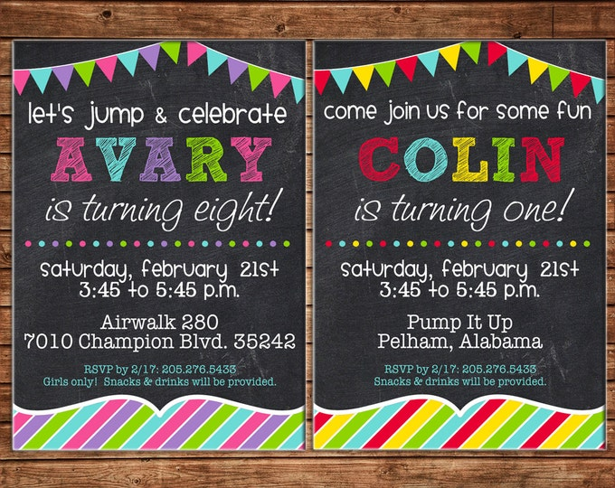 Boy or Girl Generic Sibling Chalkboard Birthday Party - Can personalize colors /wording - Printable File or Printed Cards