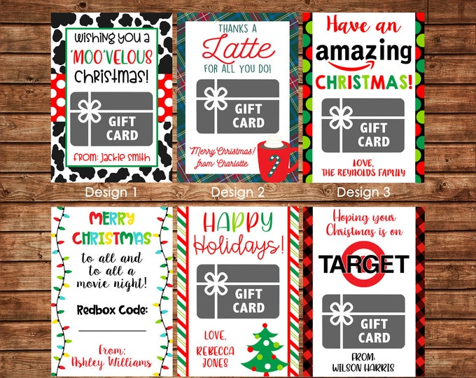 Christmas Holiday Gift Card Holders for Teachers etc with envelopes - Printable File or Printed Cards