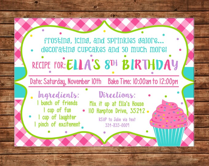Girl Invitation Recipe Card Cupcake Baking Birthday Party - Can personalize colors /wording - Printable File or Printed Cards